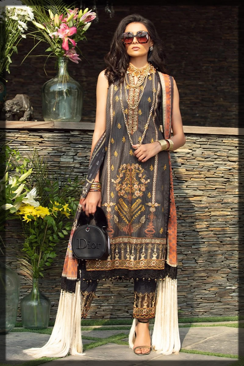 brown black embroidered lawn dress