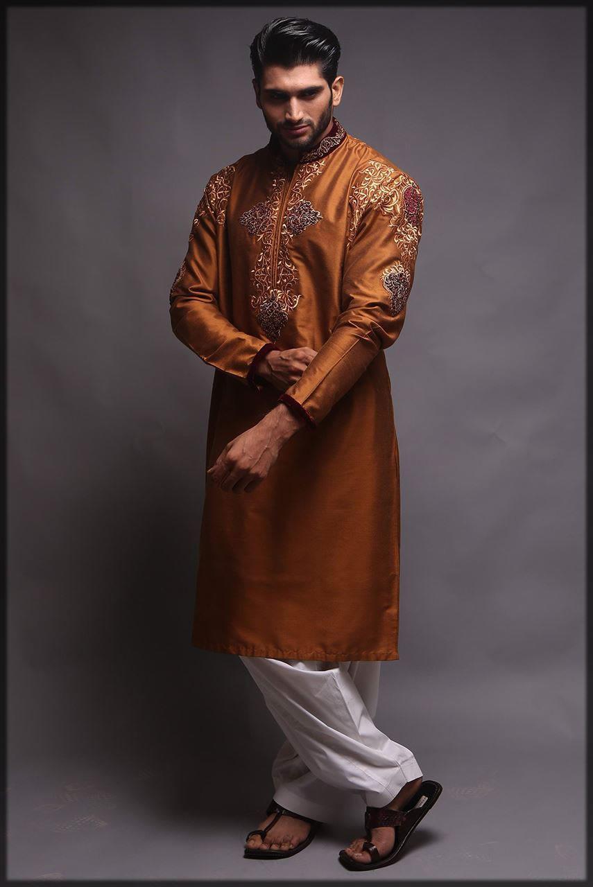 brown embroidered mehndi dress