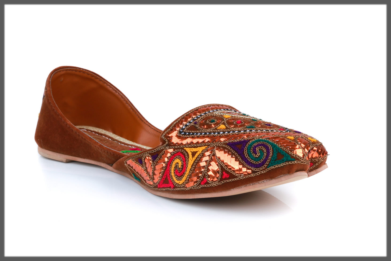 brown ethnic khussa for teens