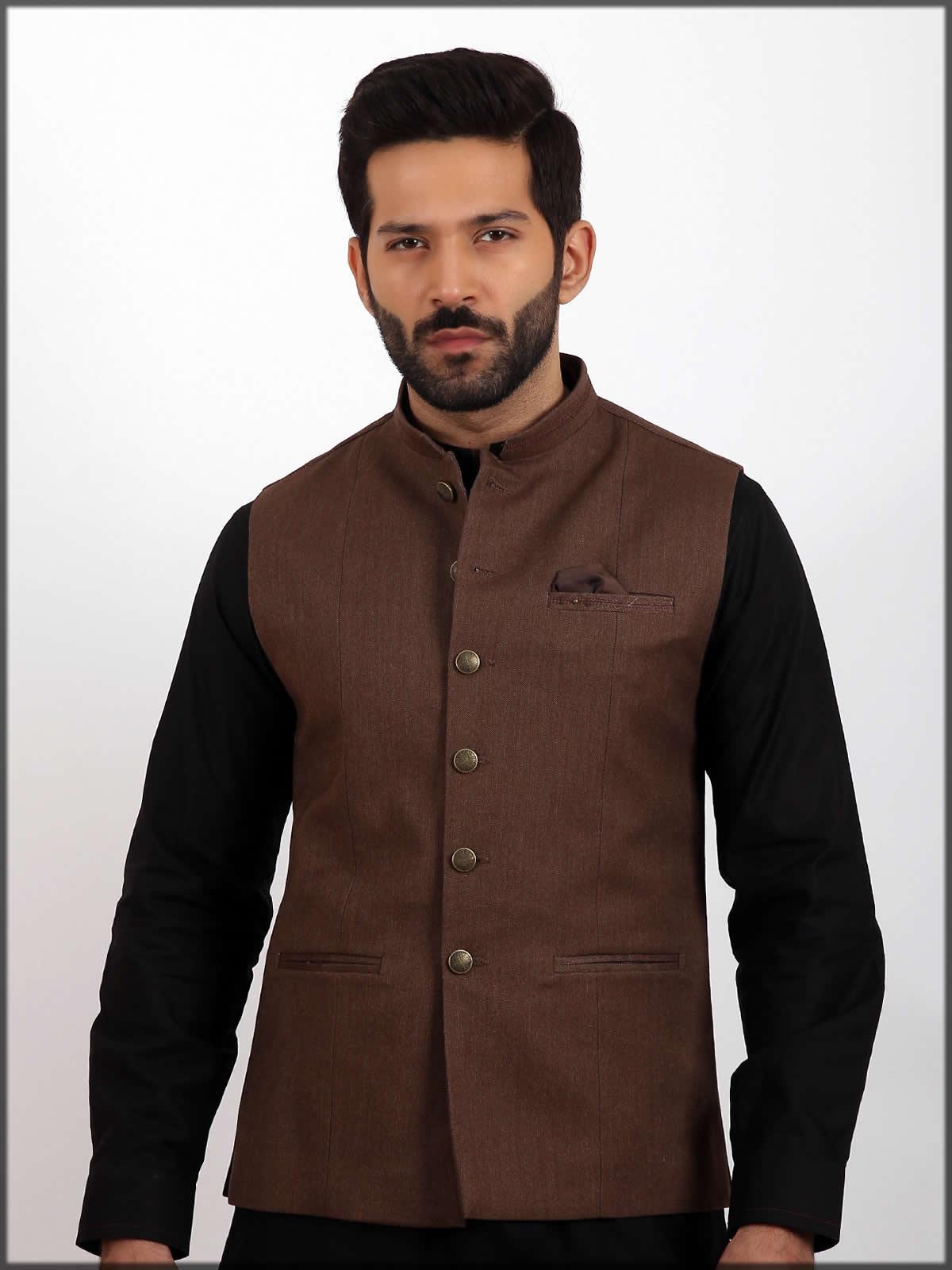 brown waistcoat by eden robe