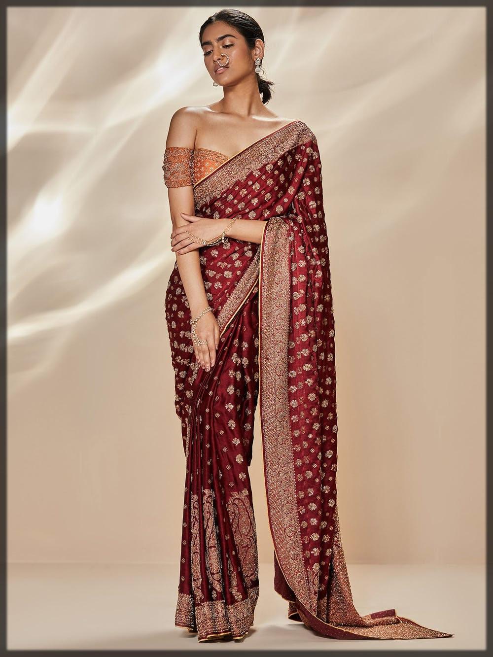 burgundy embellished bridal saree