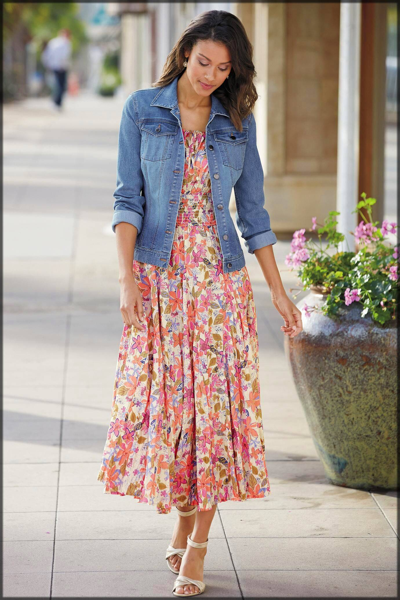 casual frock with denim jacket