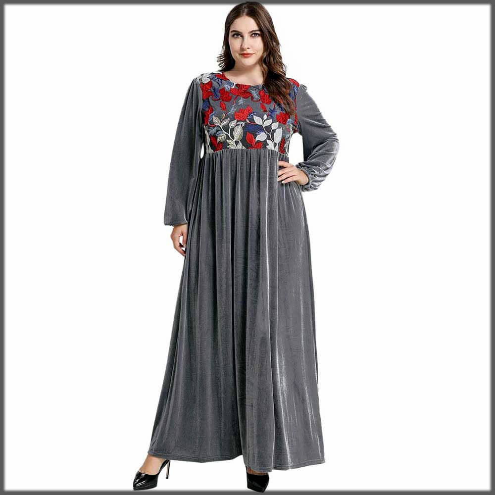casual grey color velvet abaya