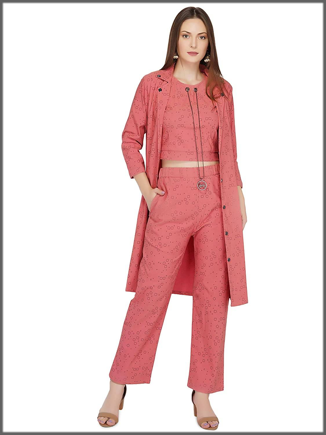 casual jacket style outfit- pink