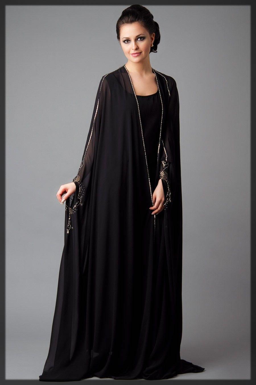 classic black Dubai Style Abaya