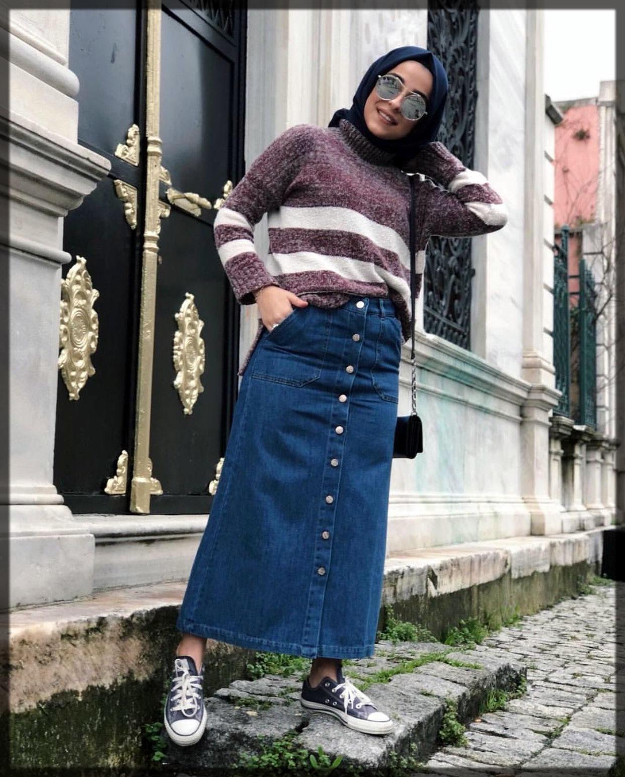 classy denim wide pant with hijab
