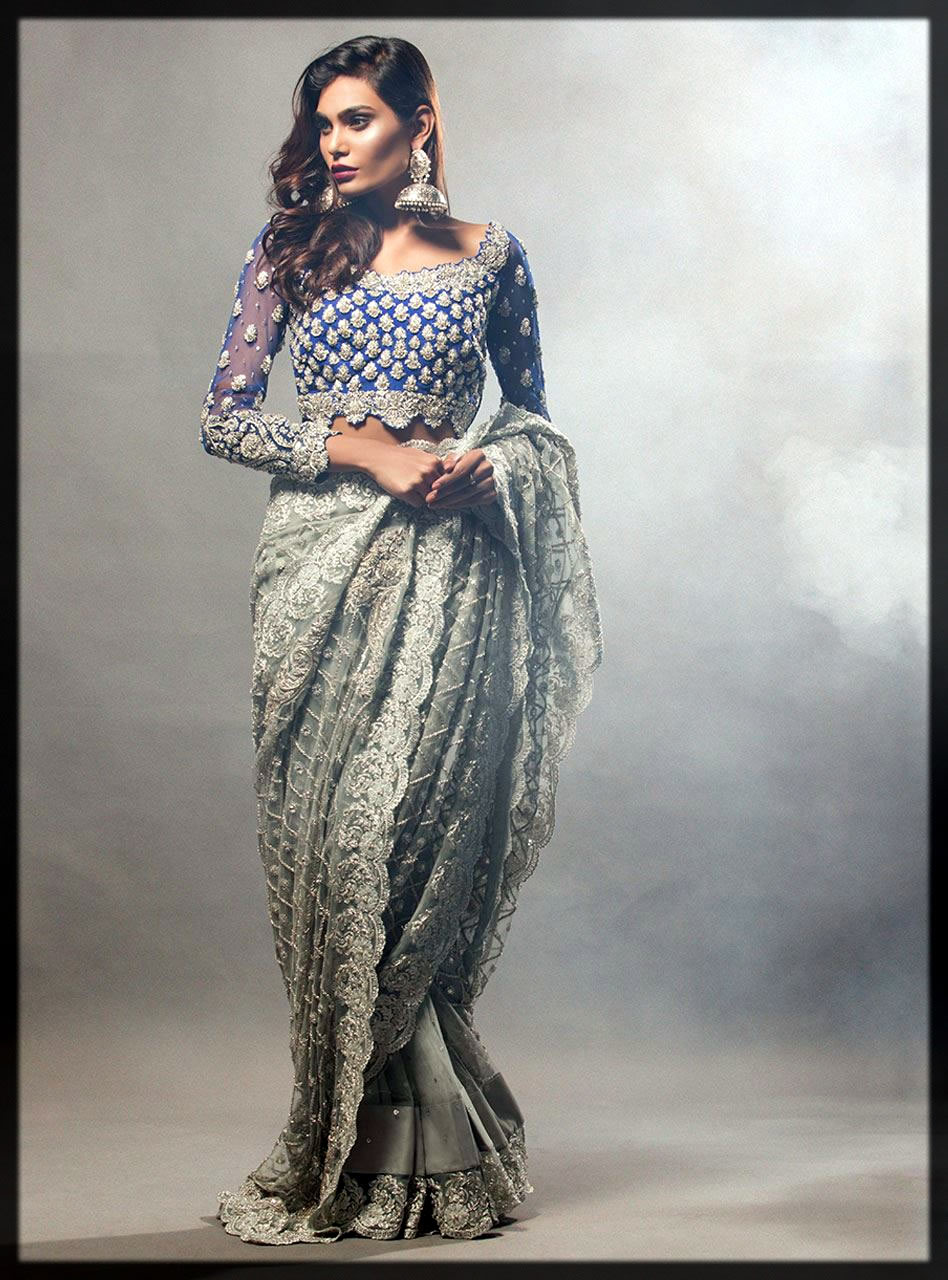 classy grey and blue bridal wear saree