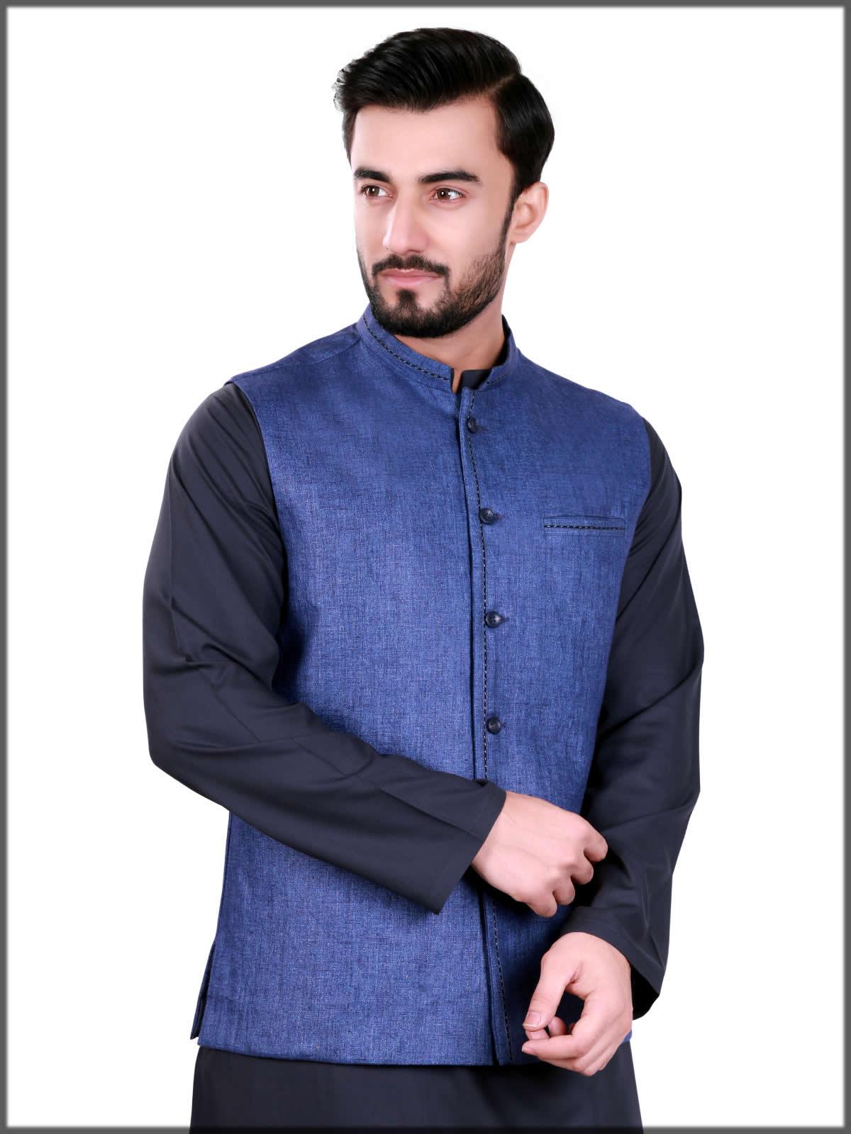 classy new blue waistcoat for men