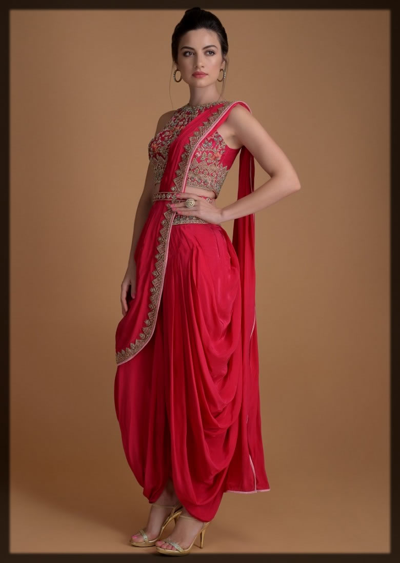 classy red dhoti pant sarii