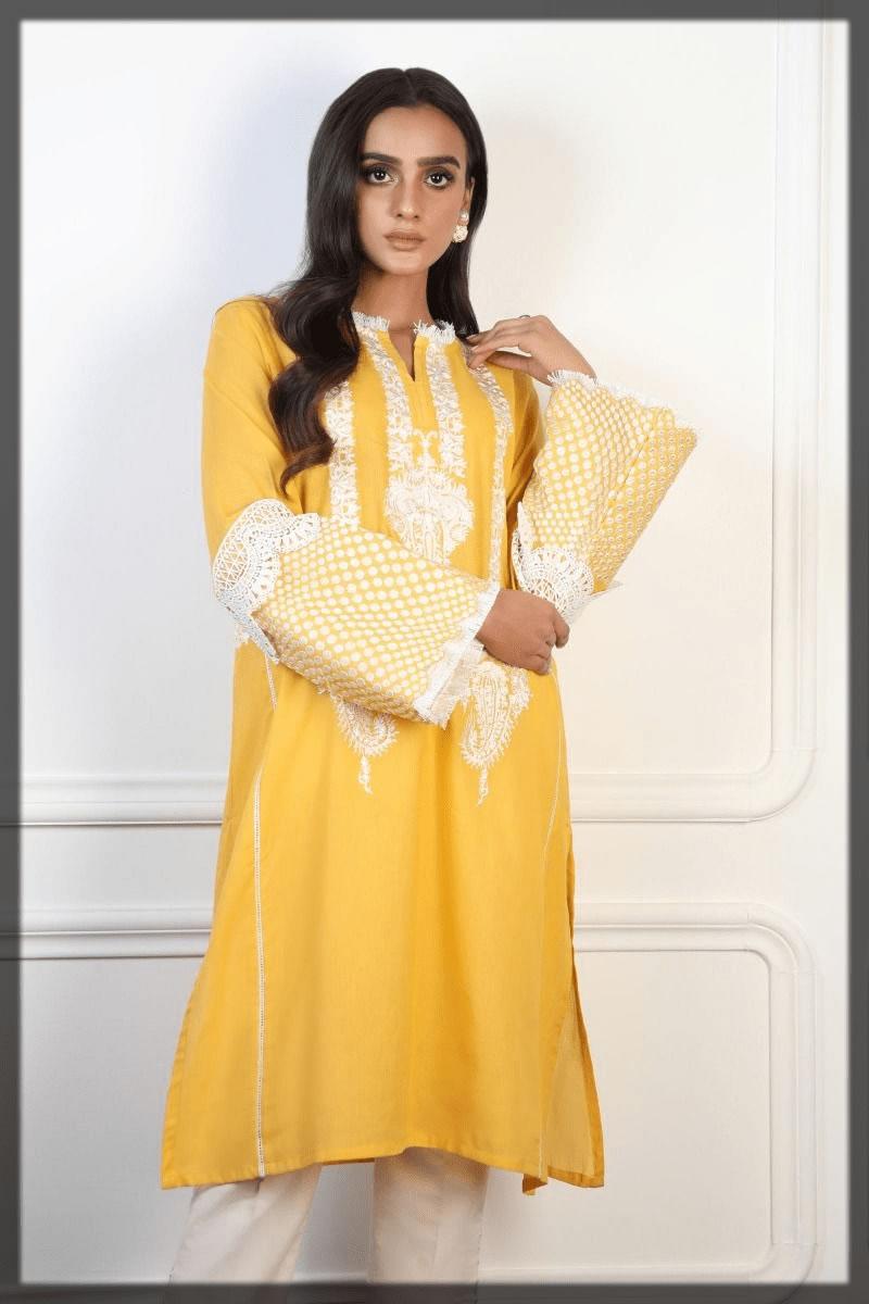 classy yellow eid kurtas by sana safinaz