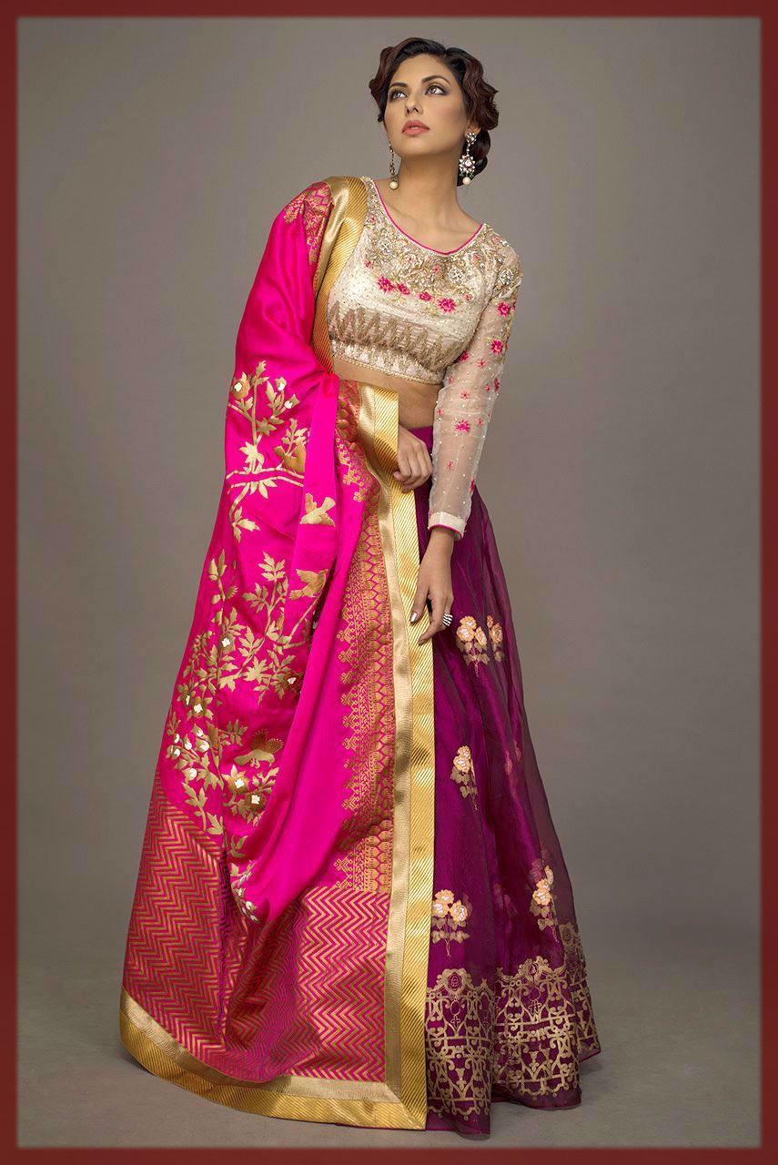 colorful banarsi bride mehndi outfit