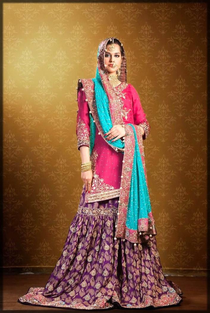 colorful bridal gharara for mehndi