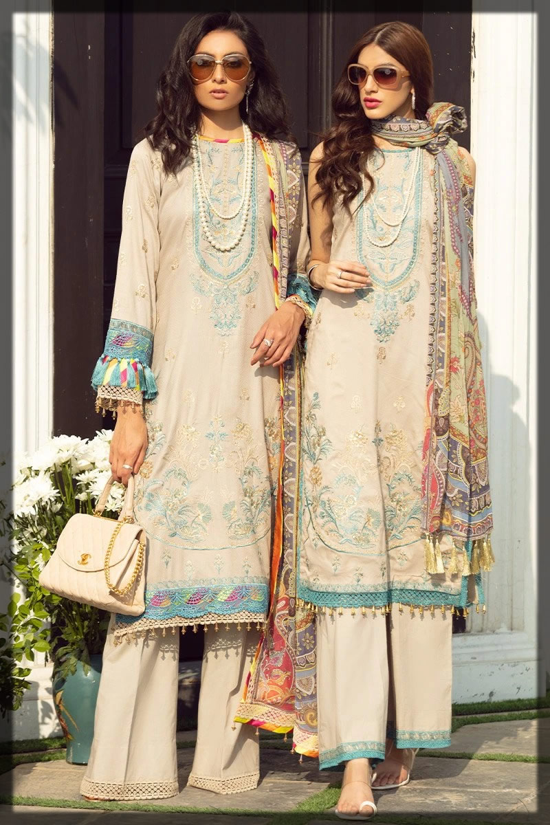 contrasting embroidered lawn dress