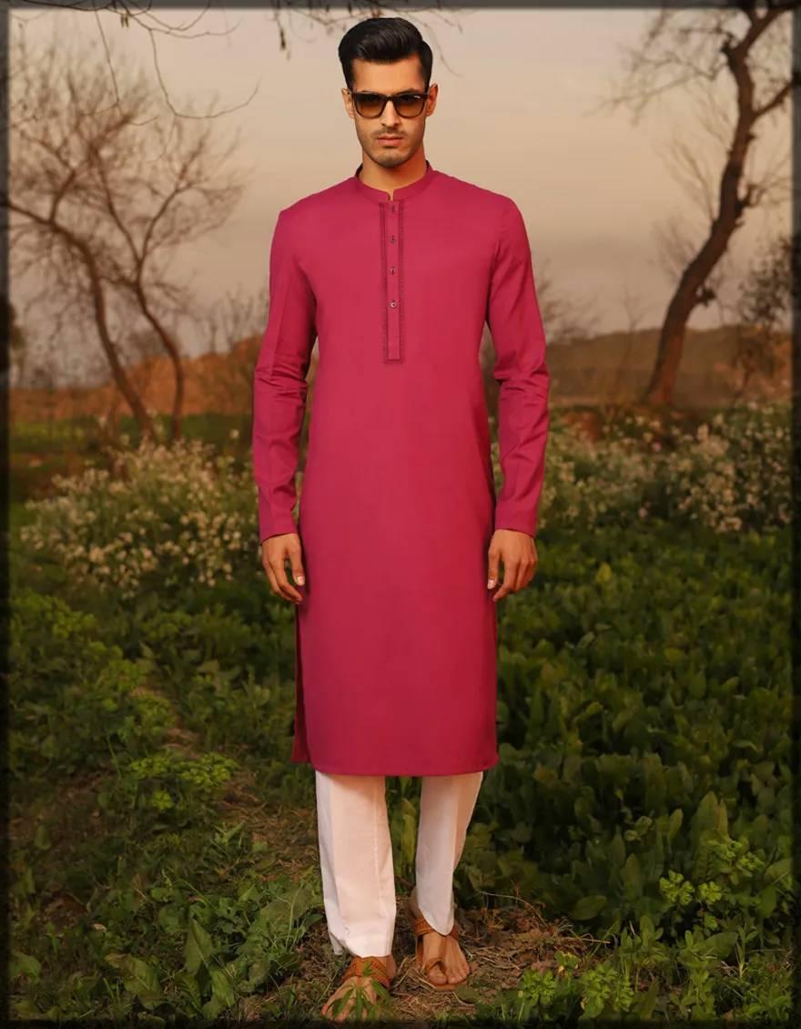 cotton kurta for men in magenta