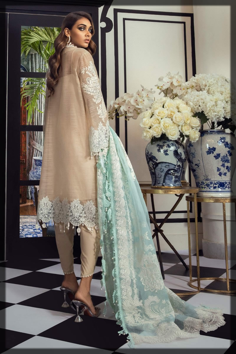 cream and beige embroidered woven net suit