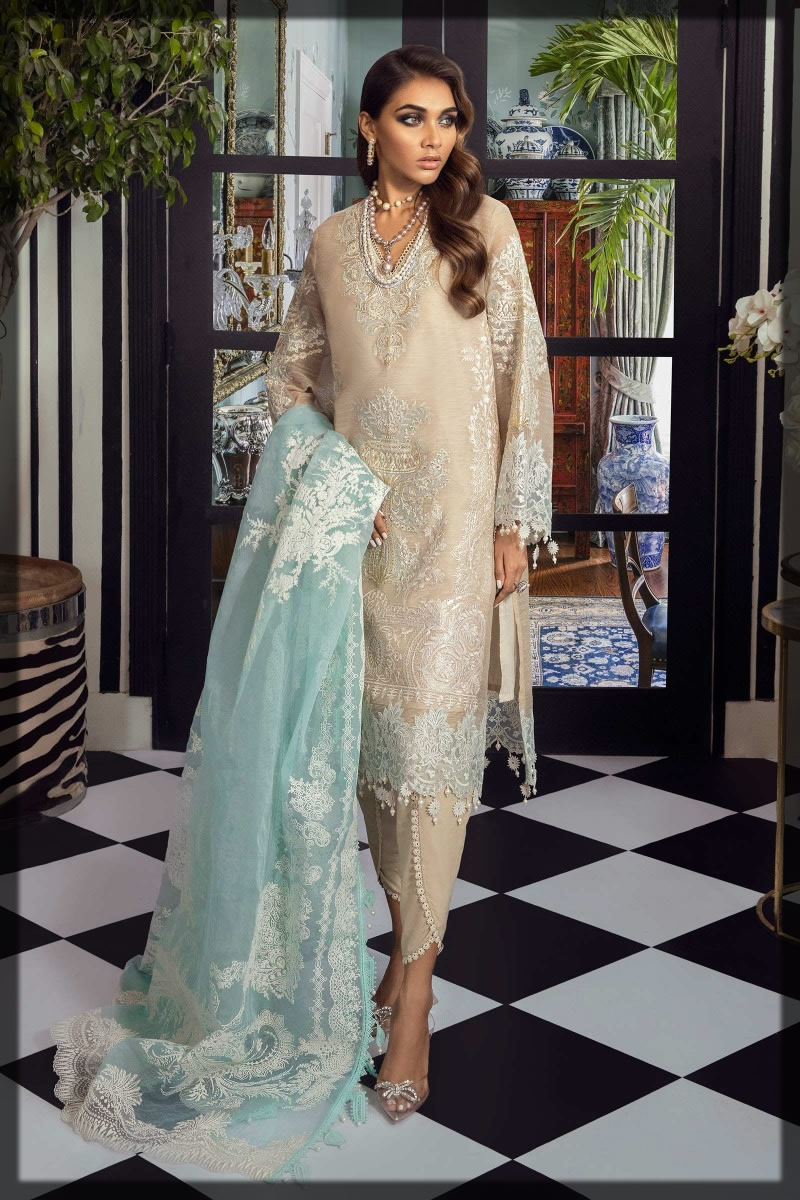 cream and beige woven net suit