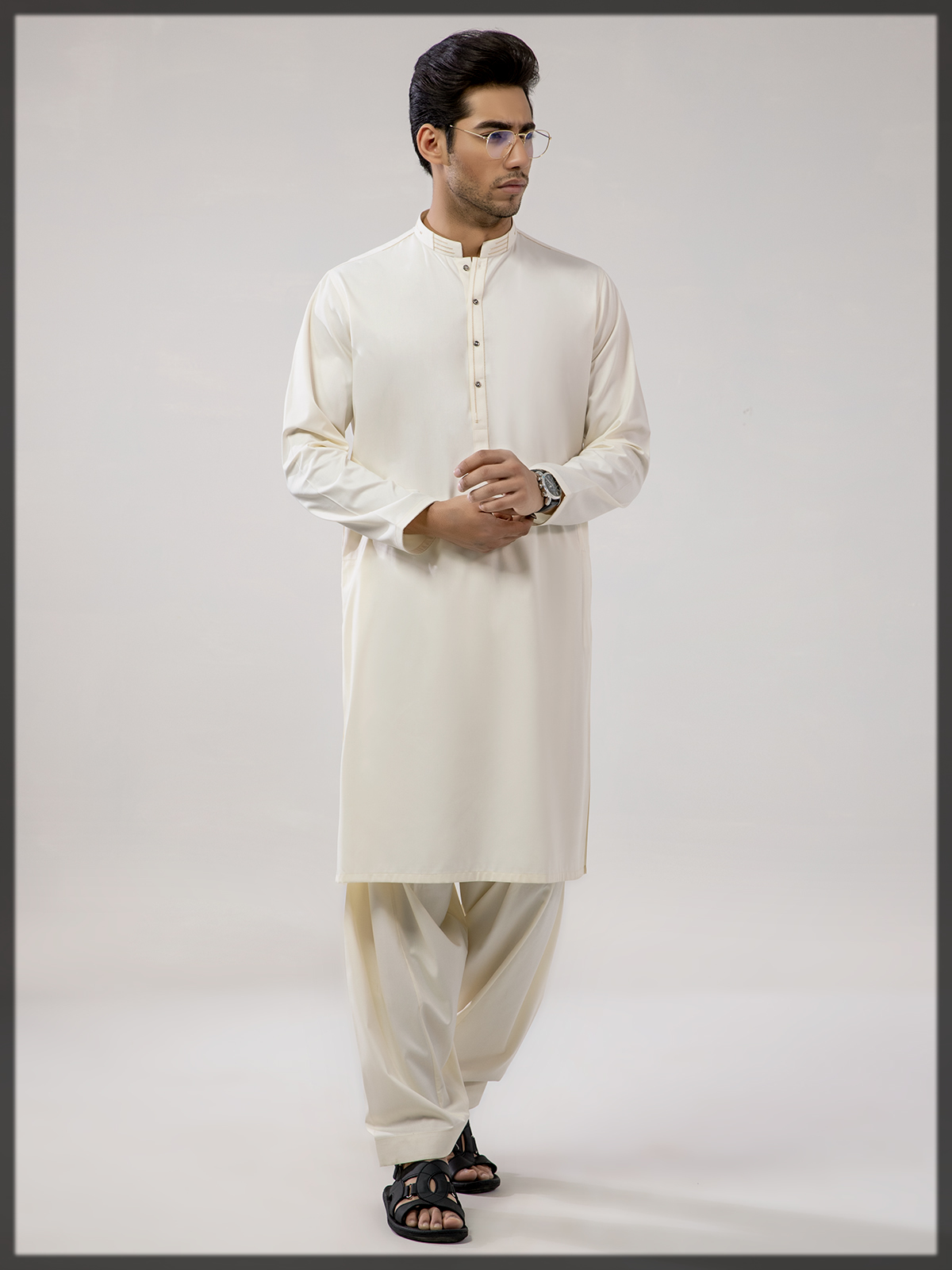 cream shaded summer outfit for men