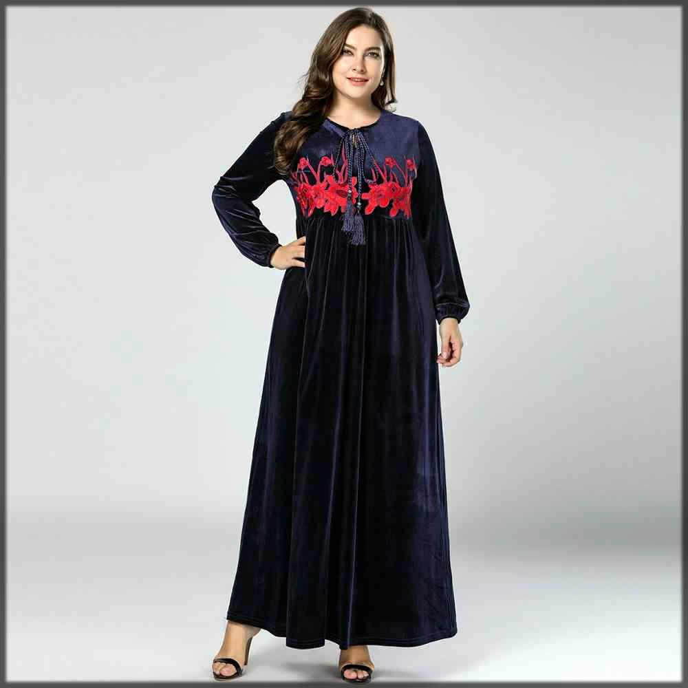 dark blue velvet abaya fo casual wear