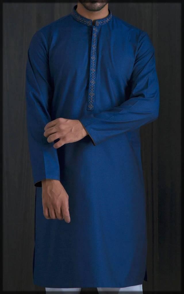 dark-shaded embroidered attire for men