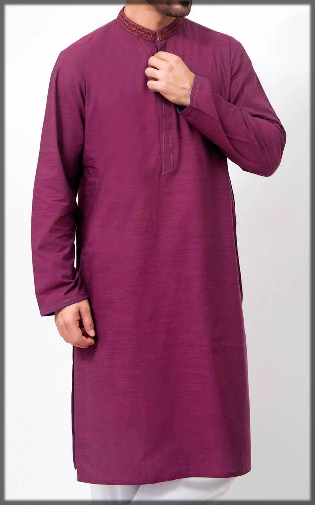 dark-shaded embroidered Cambridge kurta collection for men