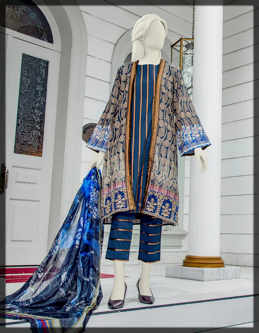 dazzling blue Junaid Jamshed Eid Collection for women