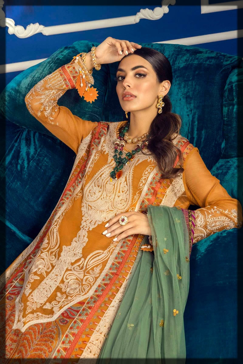 deep orange embroidered lawn suit