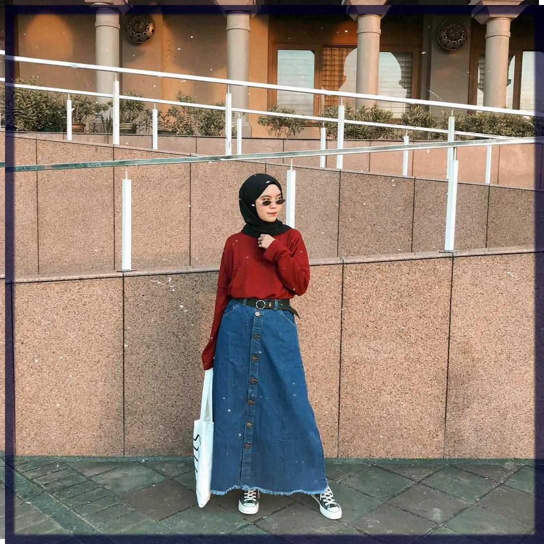 denim wide pant with hijab