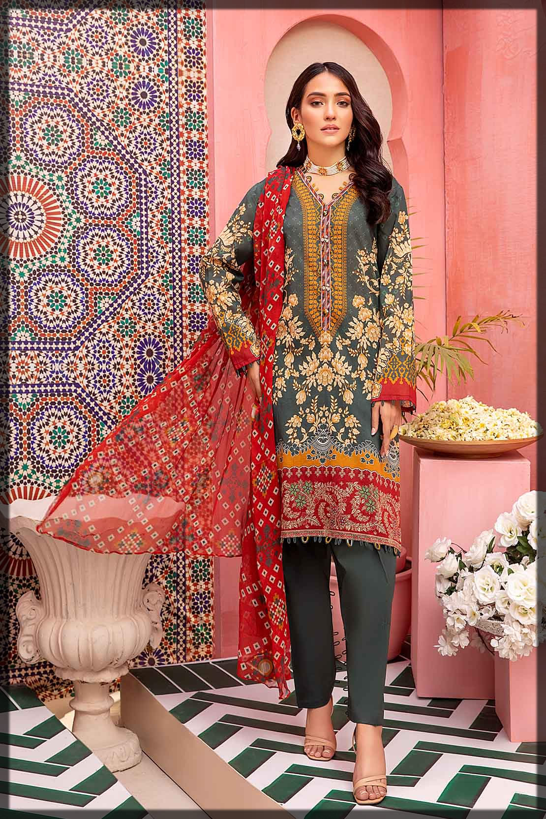 digitally printed bottle green lawn suit
