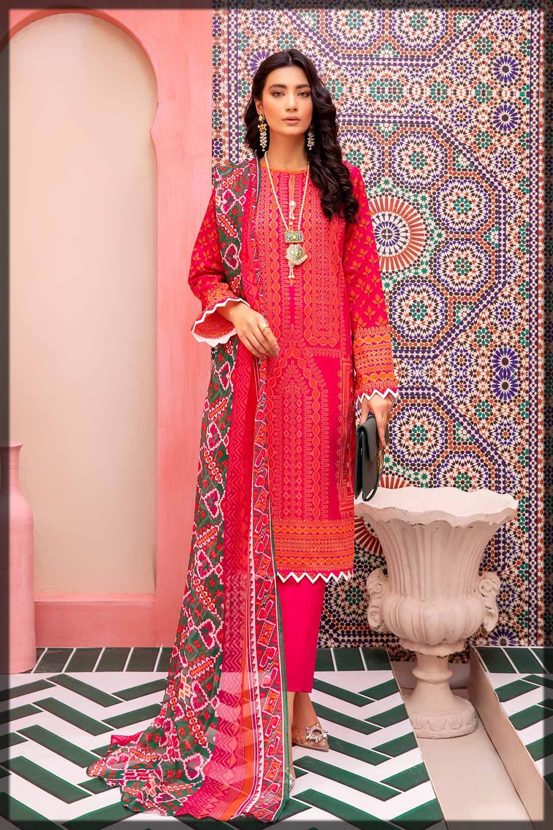 digitally printed shocking pink lawn suit