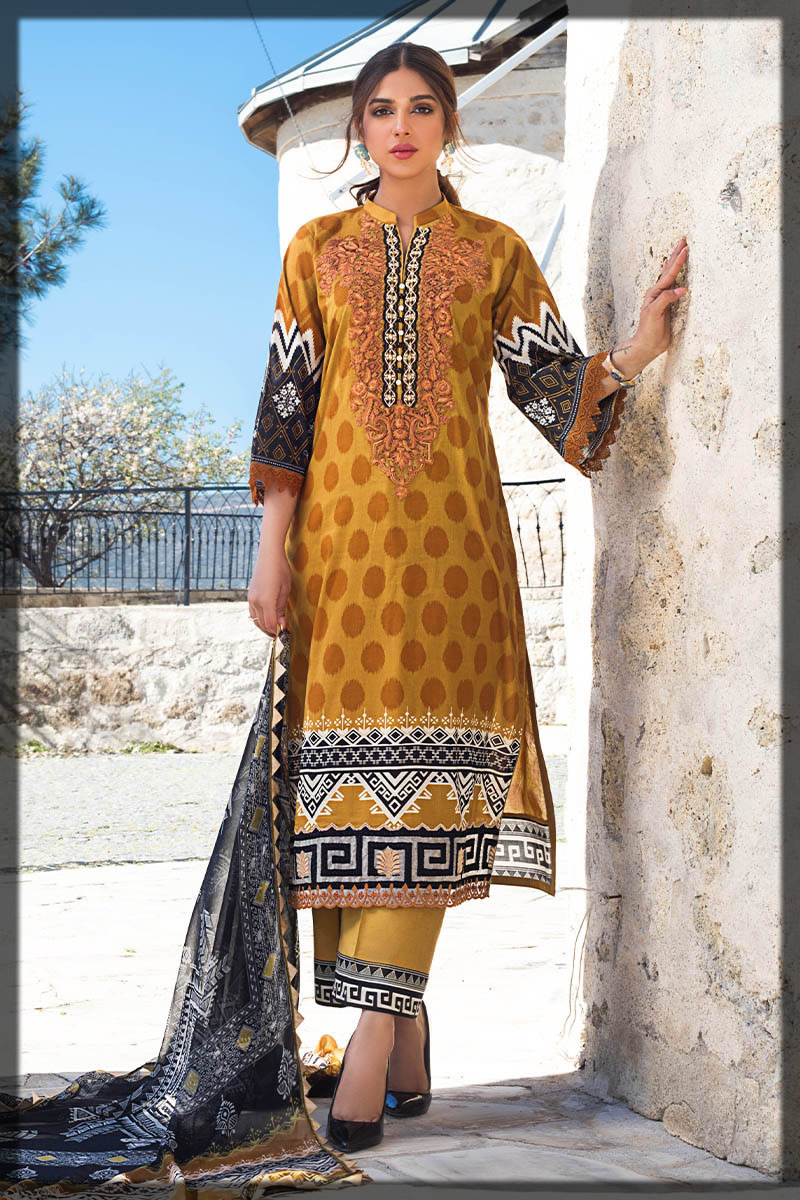 dotted yellow lawn dress