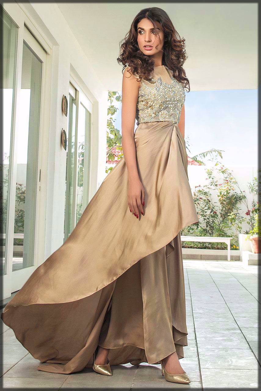 dull gold silk skirt luxury pret