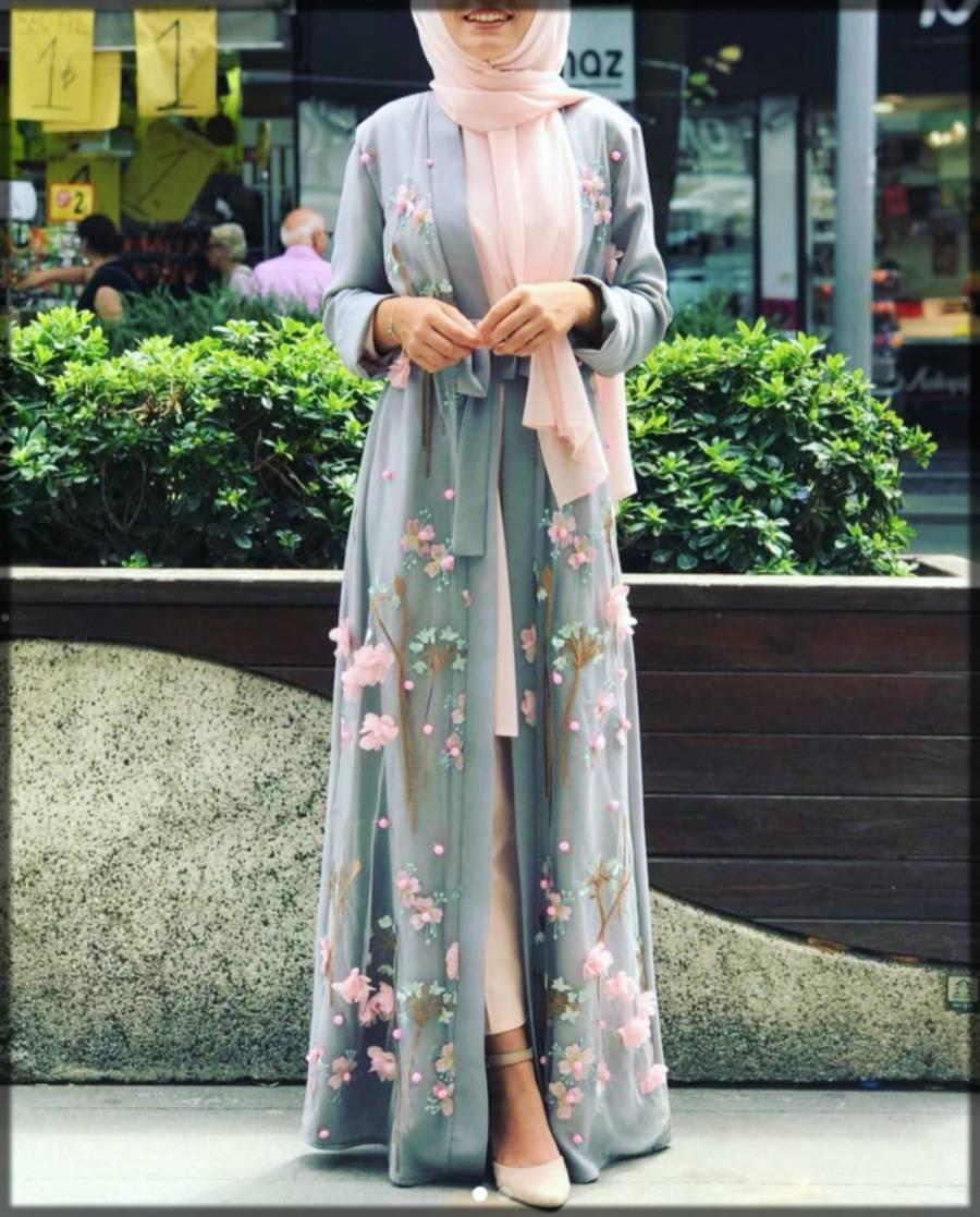 embellished open abaya