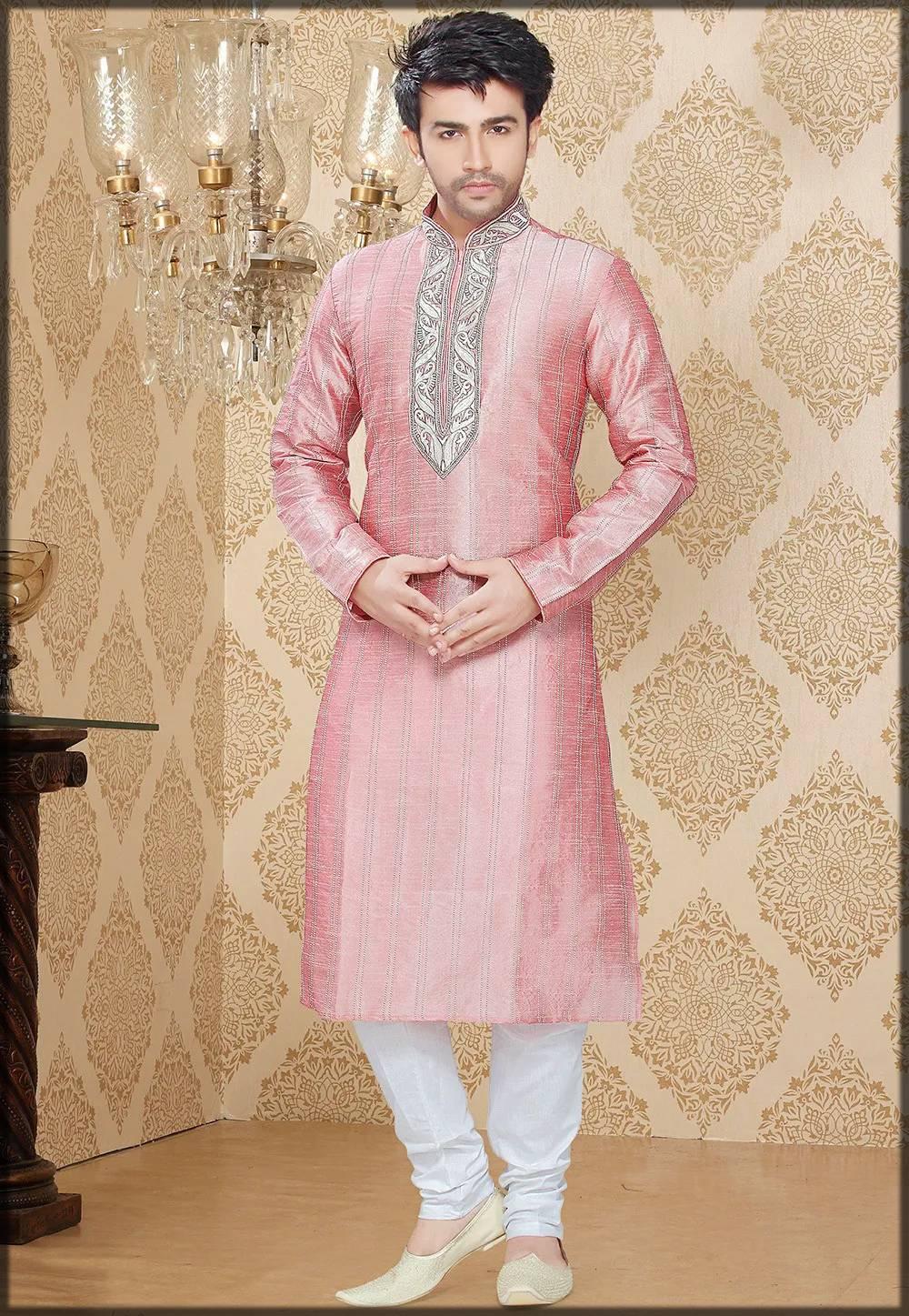 Embroidered Art Silk Kurta-Pink