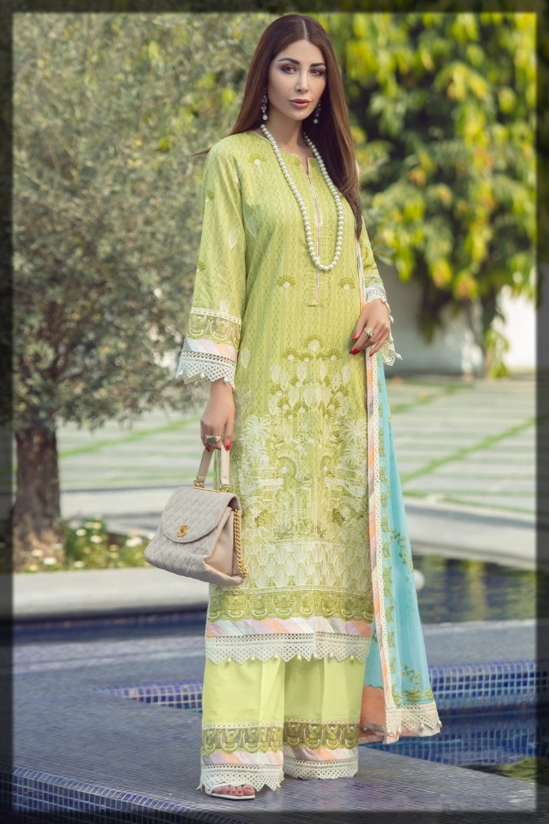 embroidered green rotery lawn suit