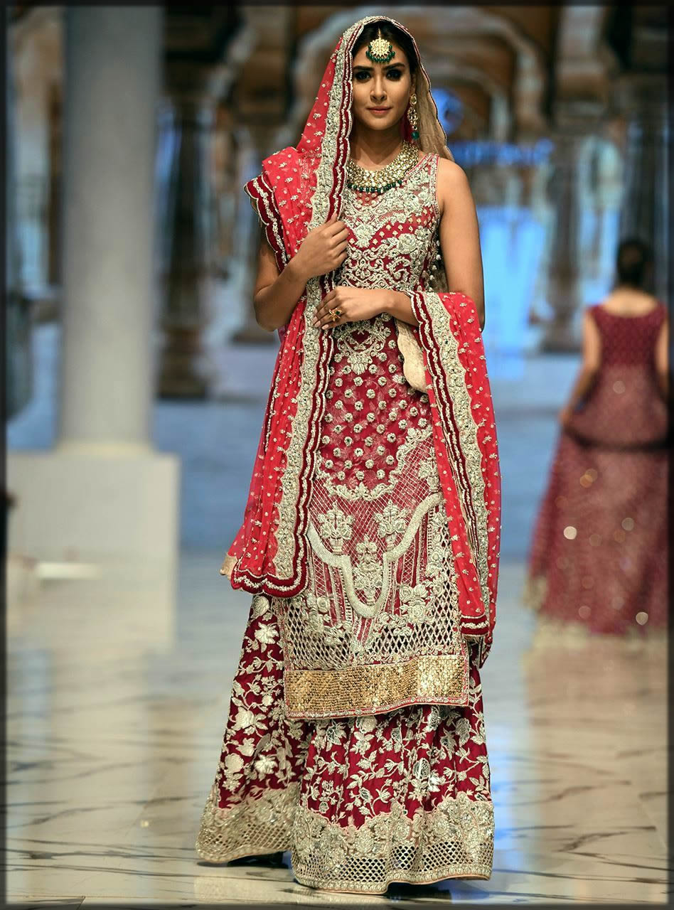 embroidered long shirt style of bridal dress