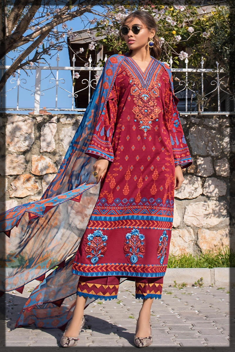 embroidered maroon lawn suit