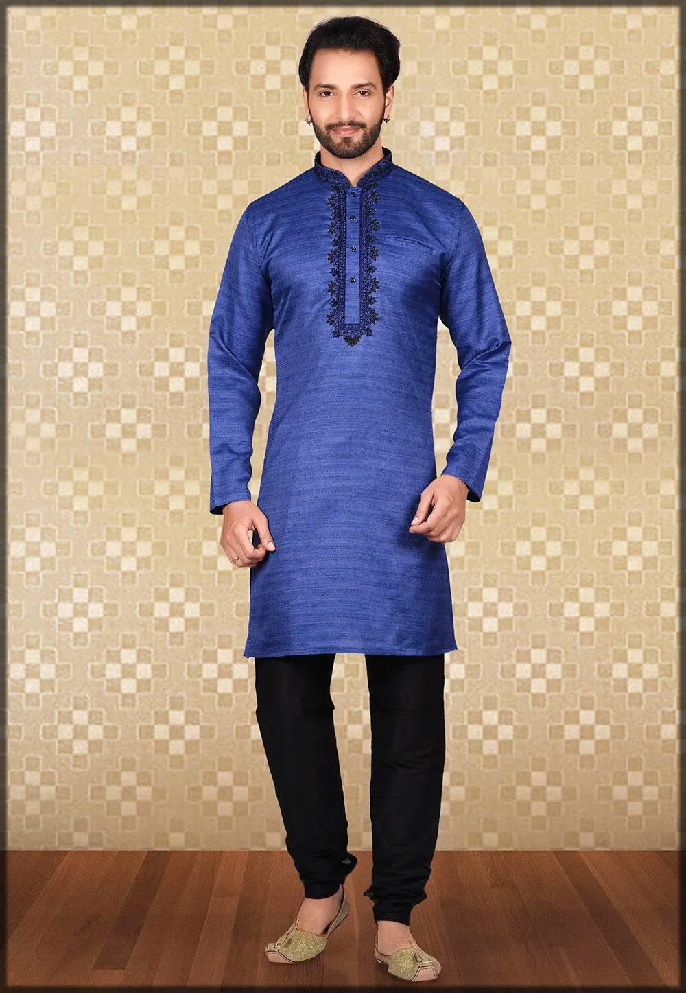 embroidered matka silk kurta pajama in blue