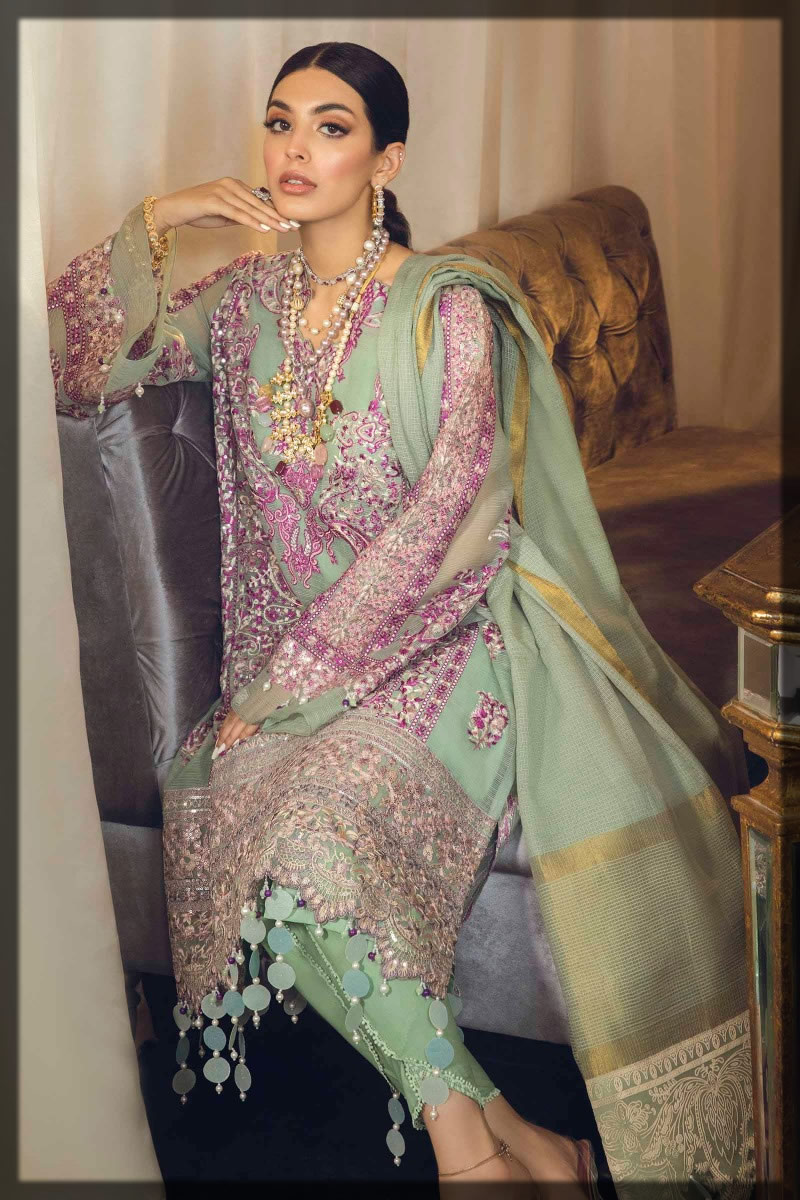 embroidered moss green net suit