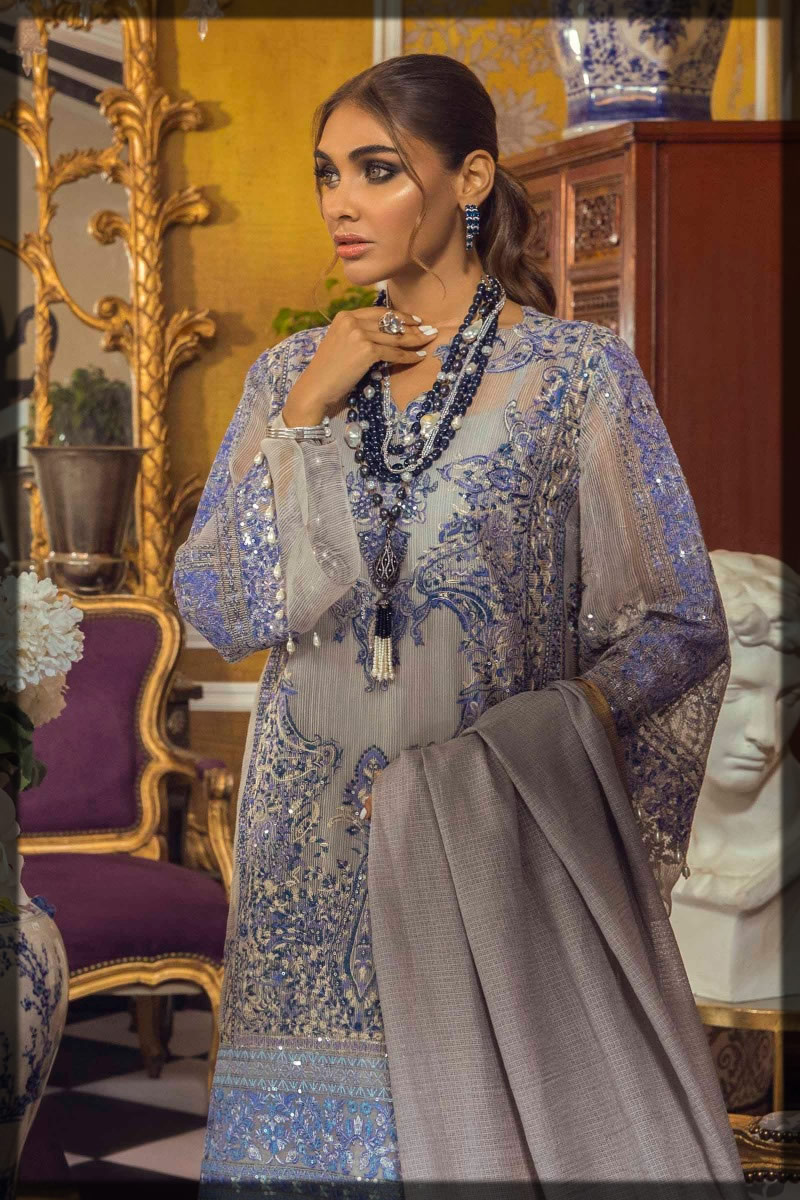 embroidered prussian and pigeon blue suit