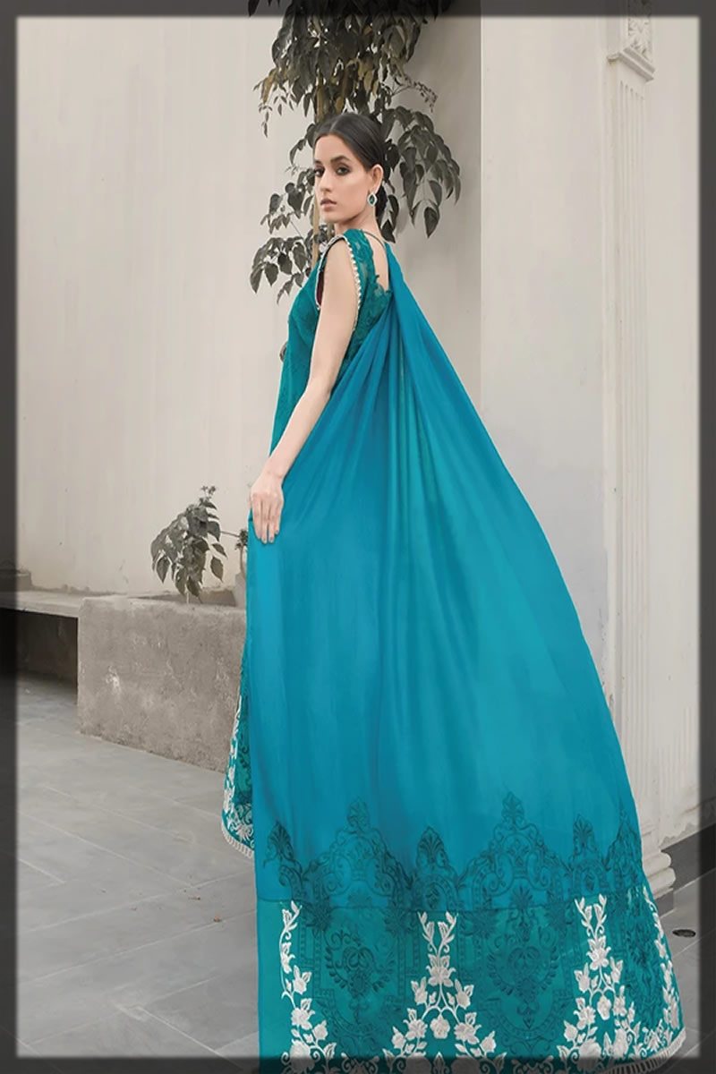 embroidered sea blue lawn suit
