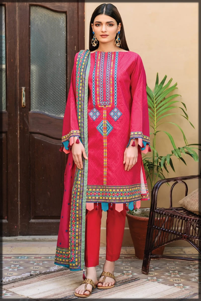embroidered shocking pink lawn dress