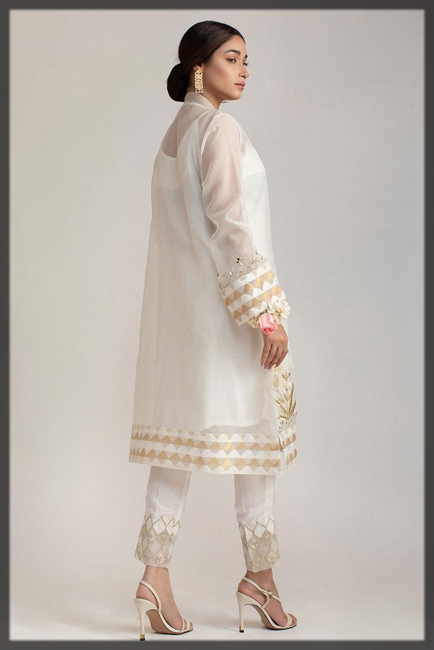 embroidered white khaadi net shirt