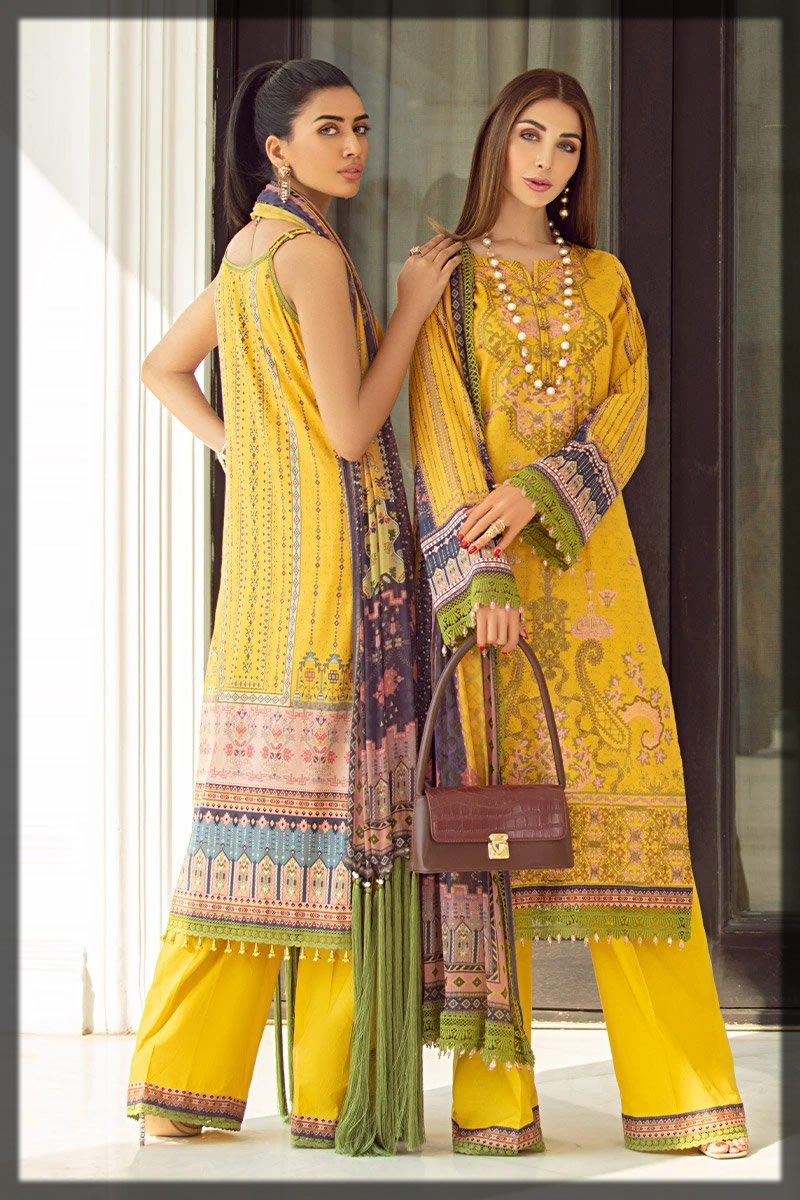 enchanting yellow embroidered lawn dress