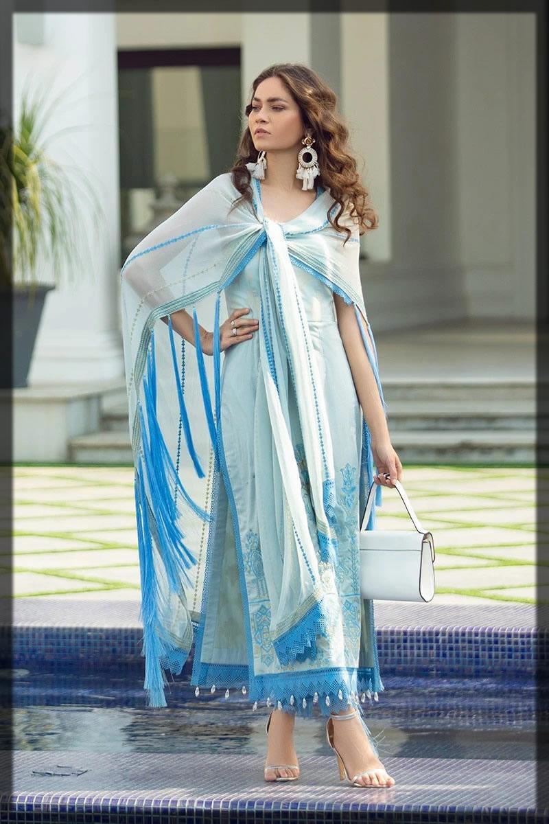essential light blue summer lawn dress