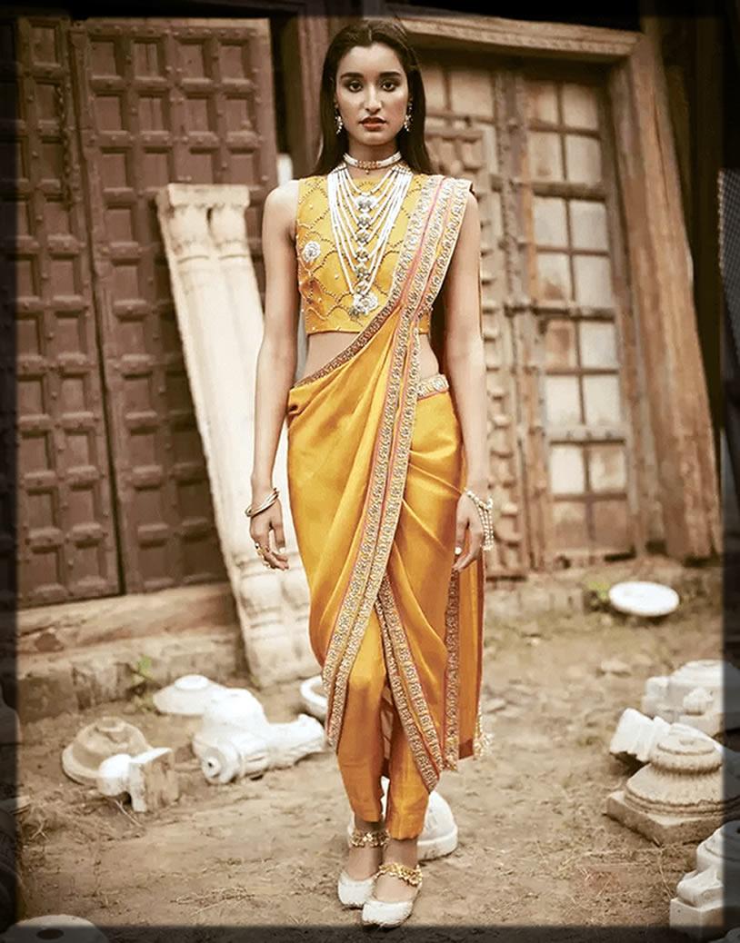 fancy blouse pant style saree
