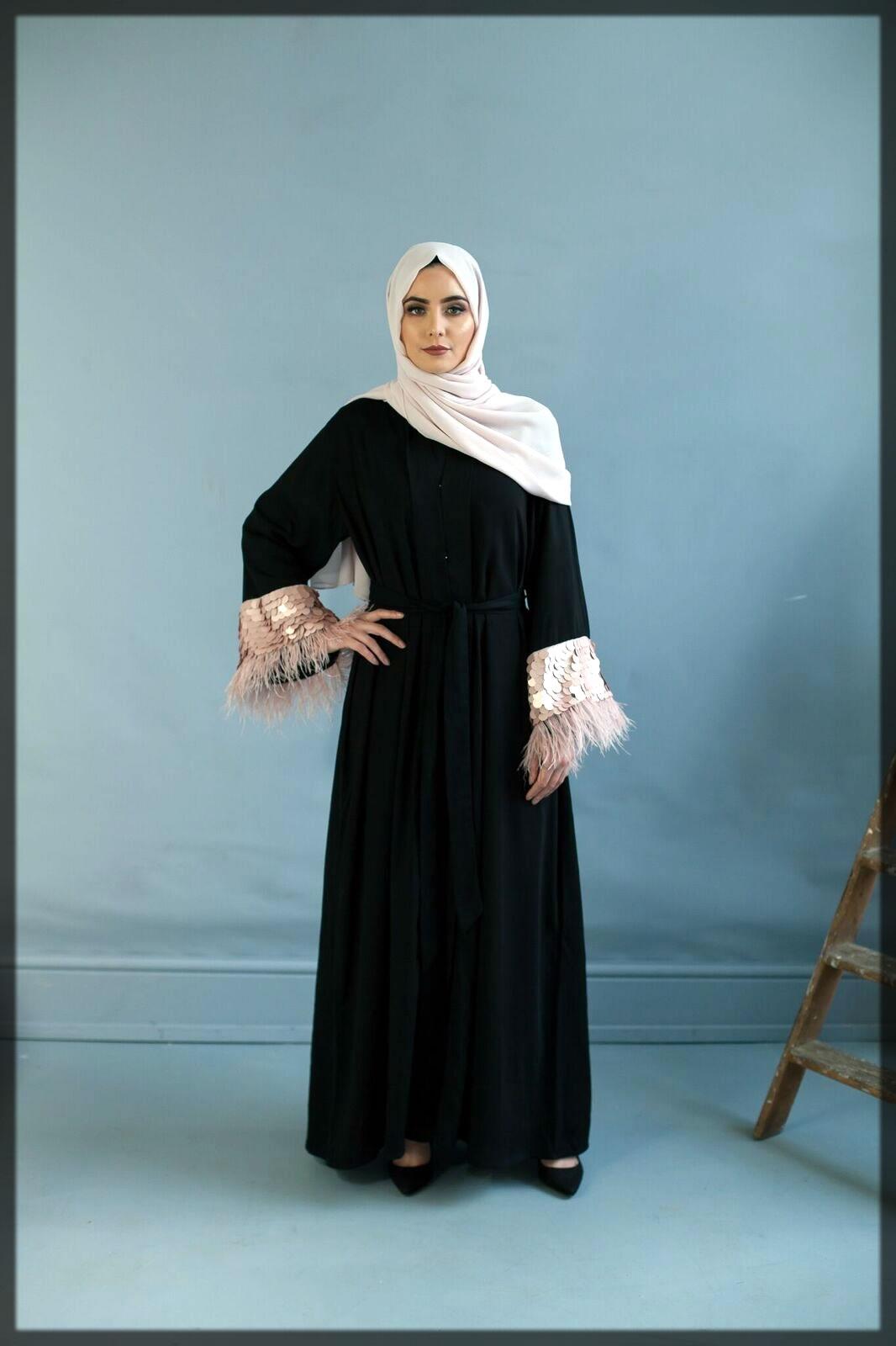 fancy sleeves dubai style abaya