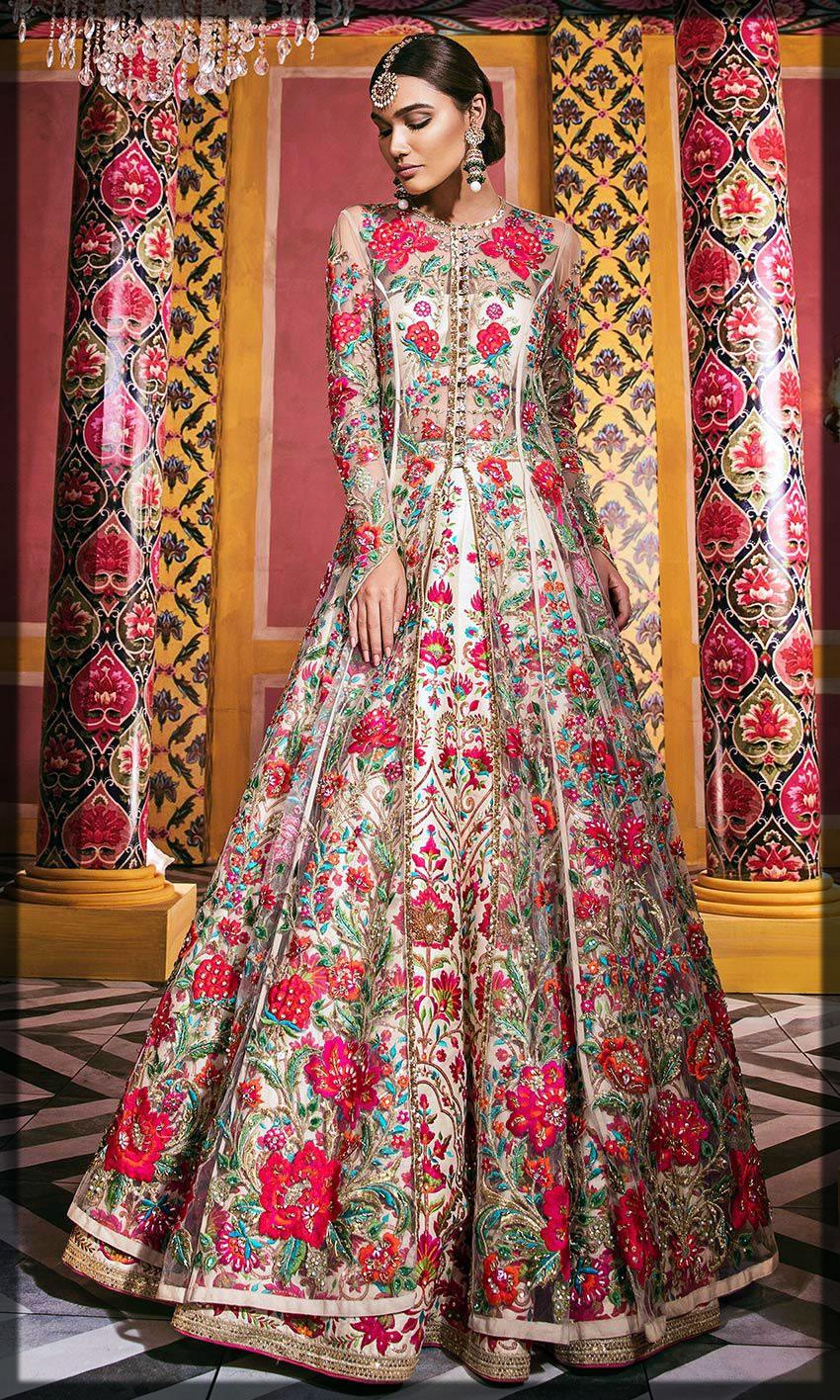 floral patterns bridal dresses