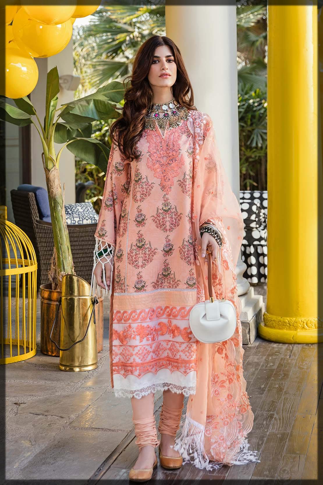 floral peach premium lawn suit