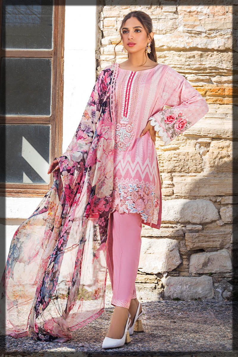 floral pink lawn embroidered suit