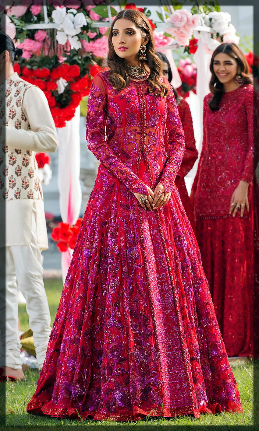 floral printed barat day dress for bride